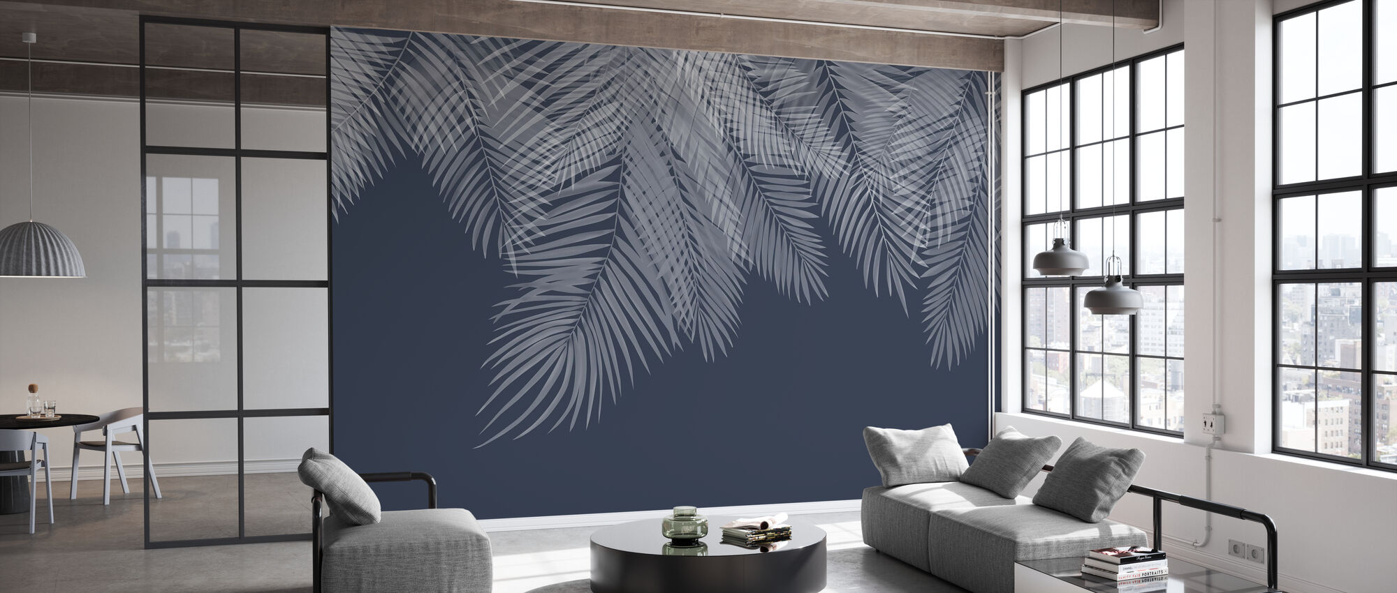 Hanging Palm Leaves - Blue - Wallpaper - Office