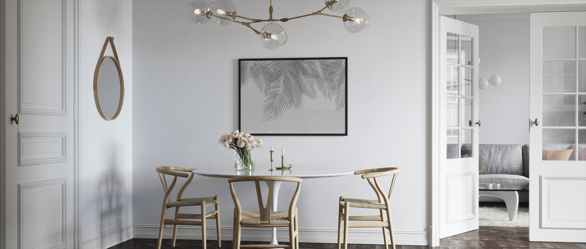 Hanging Palm Leaves - Gray - Poster - Kitchen