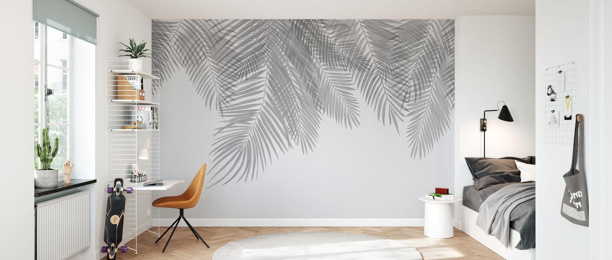 Hängande palmblad - Grå - Tapet - Barnrum
