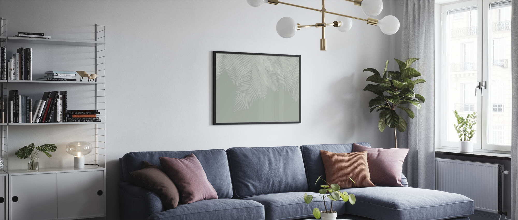 Hanging Palm Leaves - Green-White - Poster - Living Room