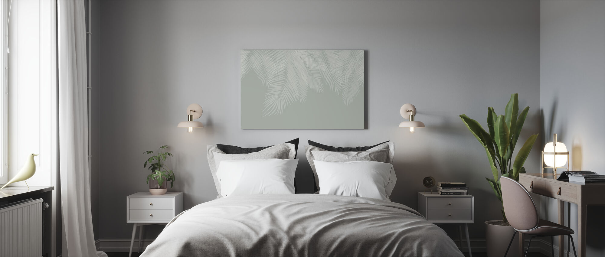 Hanging Palm Leaves - Green-White - Canvas print - Bedroom