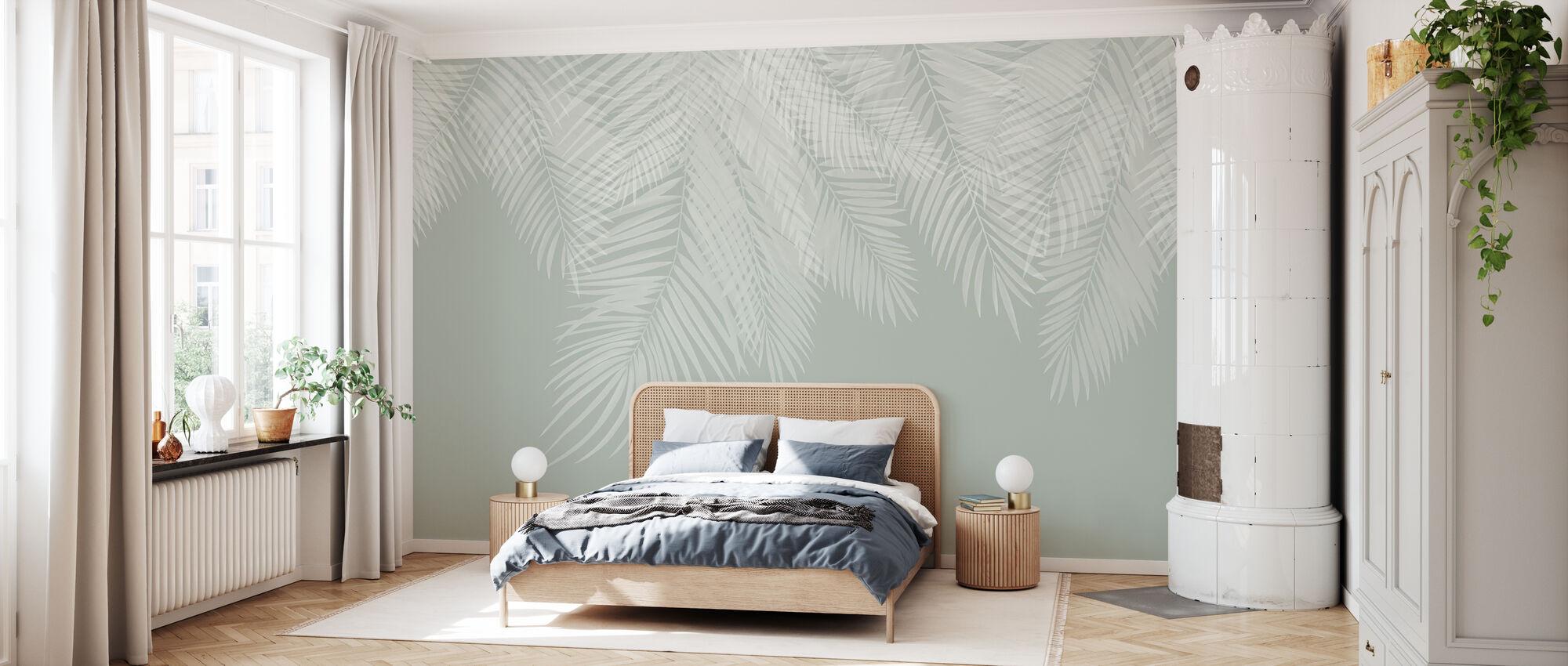 Foglie di palma da appendere - verde-bianco - Carta da parati - Camera da letto