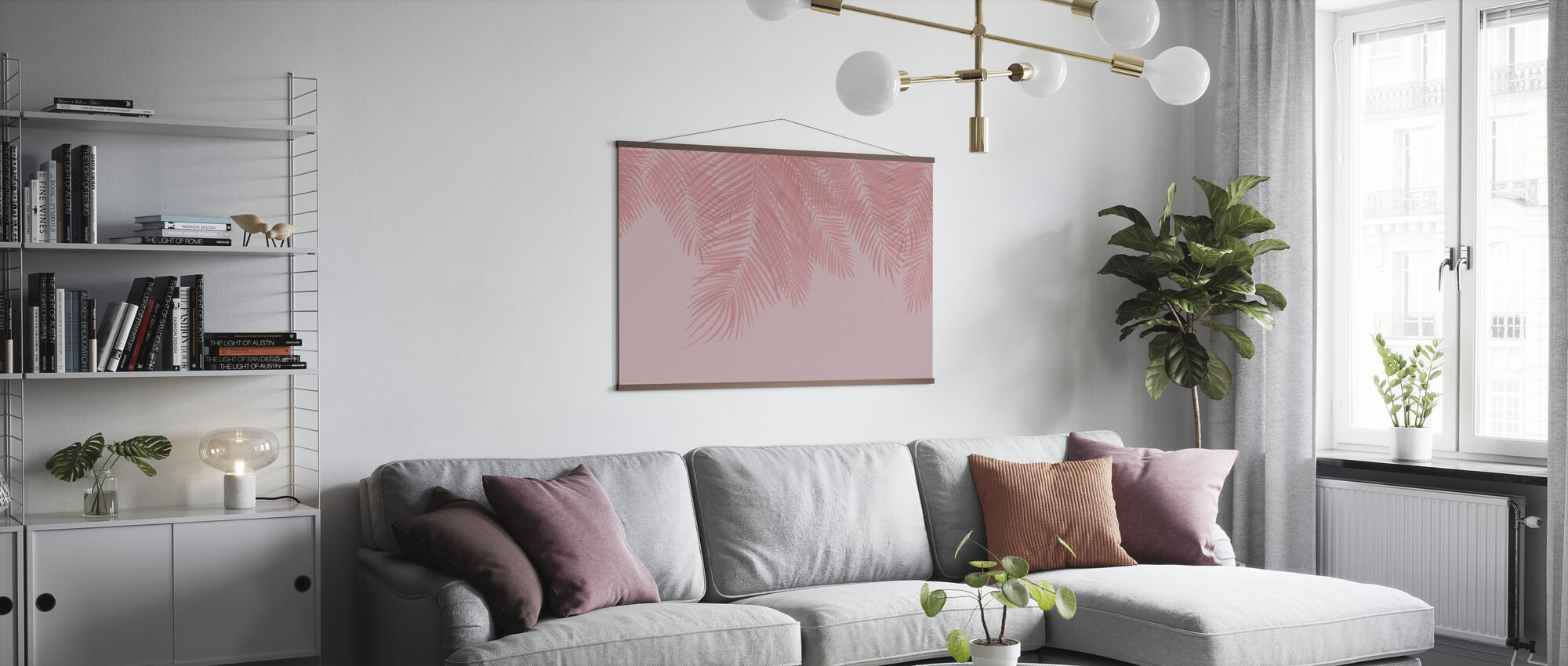 Hanging Palm Leaves - Pink - Poster - Living Room
