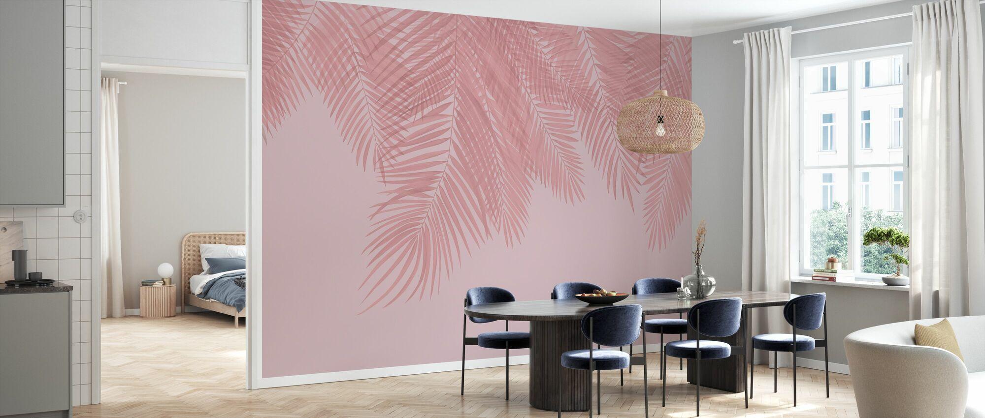 Hanging Palm Leaves - Pink - Wallpaper - Kitchen
