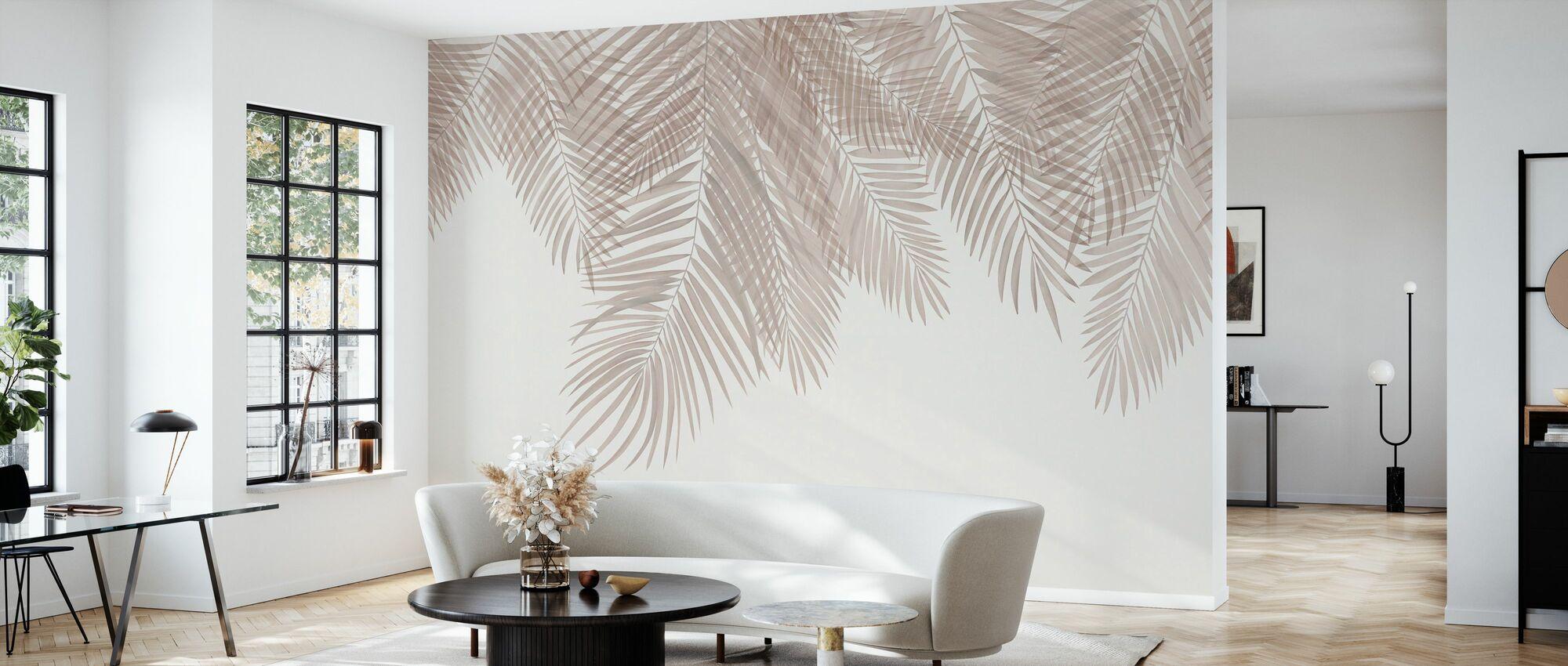 Hanging Palm Leaves - Sepia - Wallpaper - Living Room
