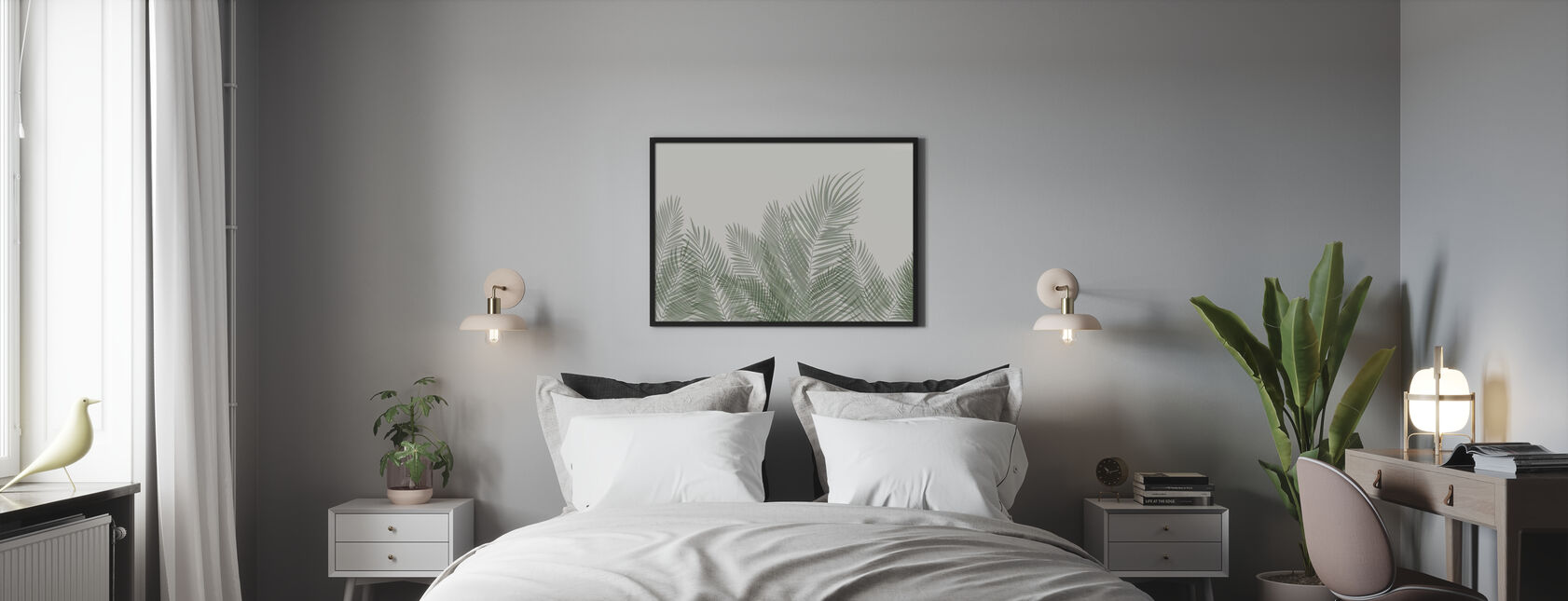 Swaying Palm Leaves - Beige-Green - Framed print - Bedroom