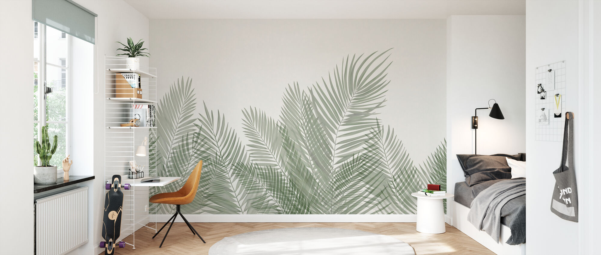 Swaying Palm Leaves - Beige-Green - Wallpaper - Kids Room