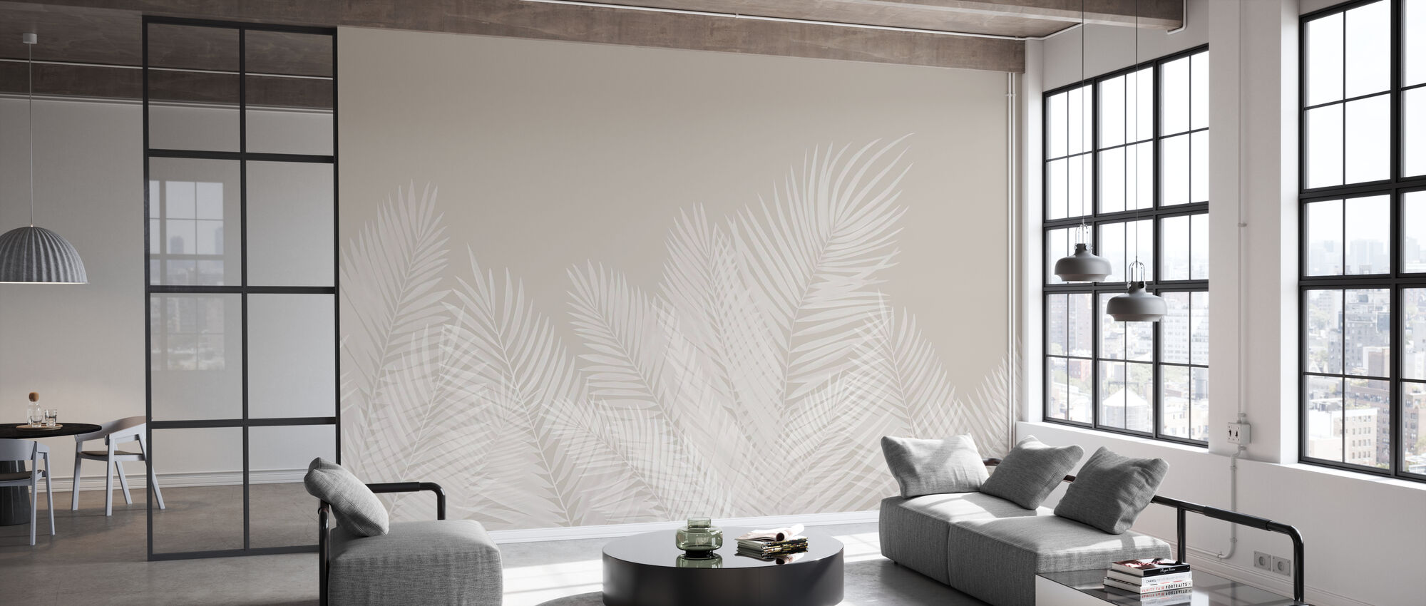 Swaying Palm Leaves - Beige-White - Wallpaper - Office