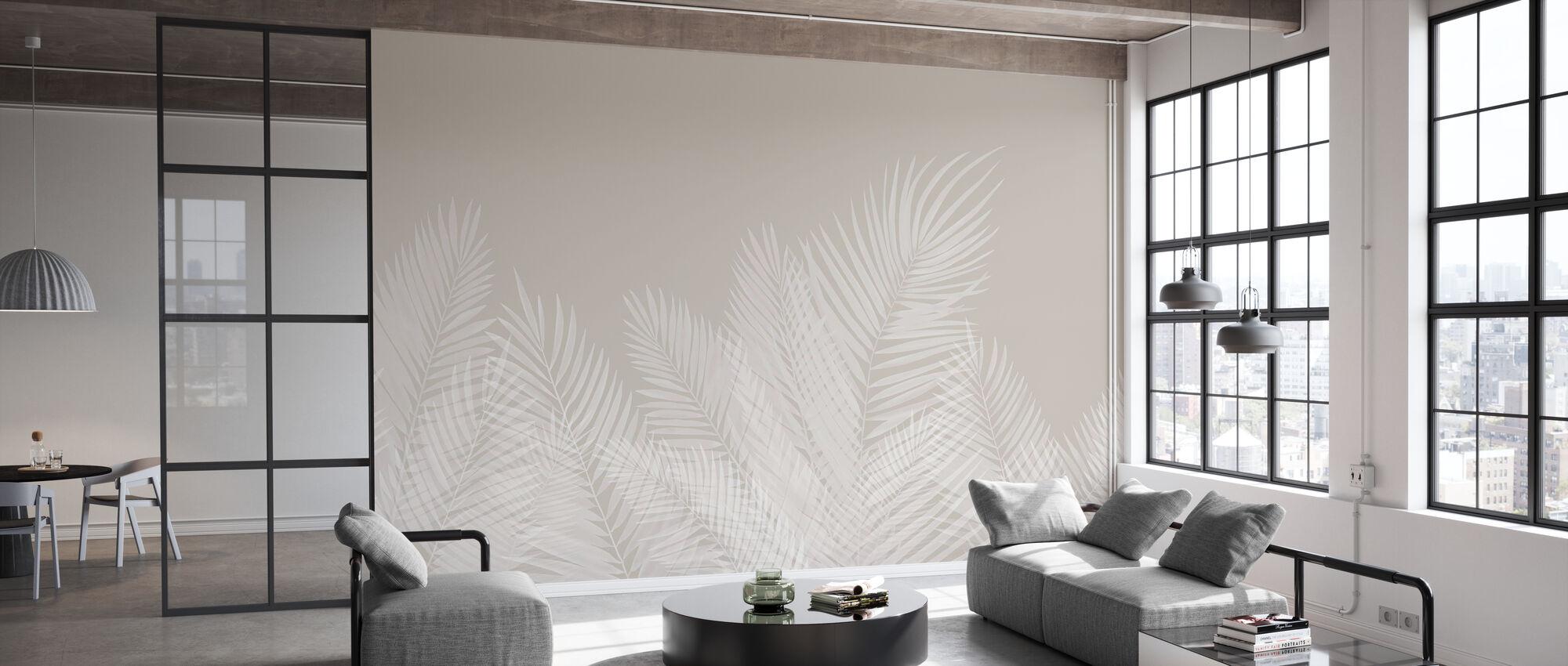 Schwankende Palmblätter - Beige-Weiß - Tapete - Büro