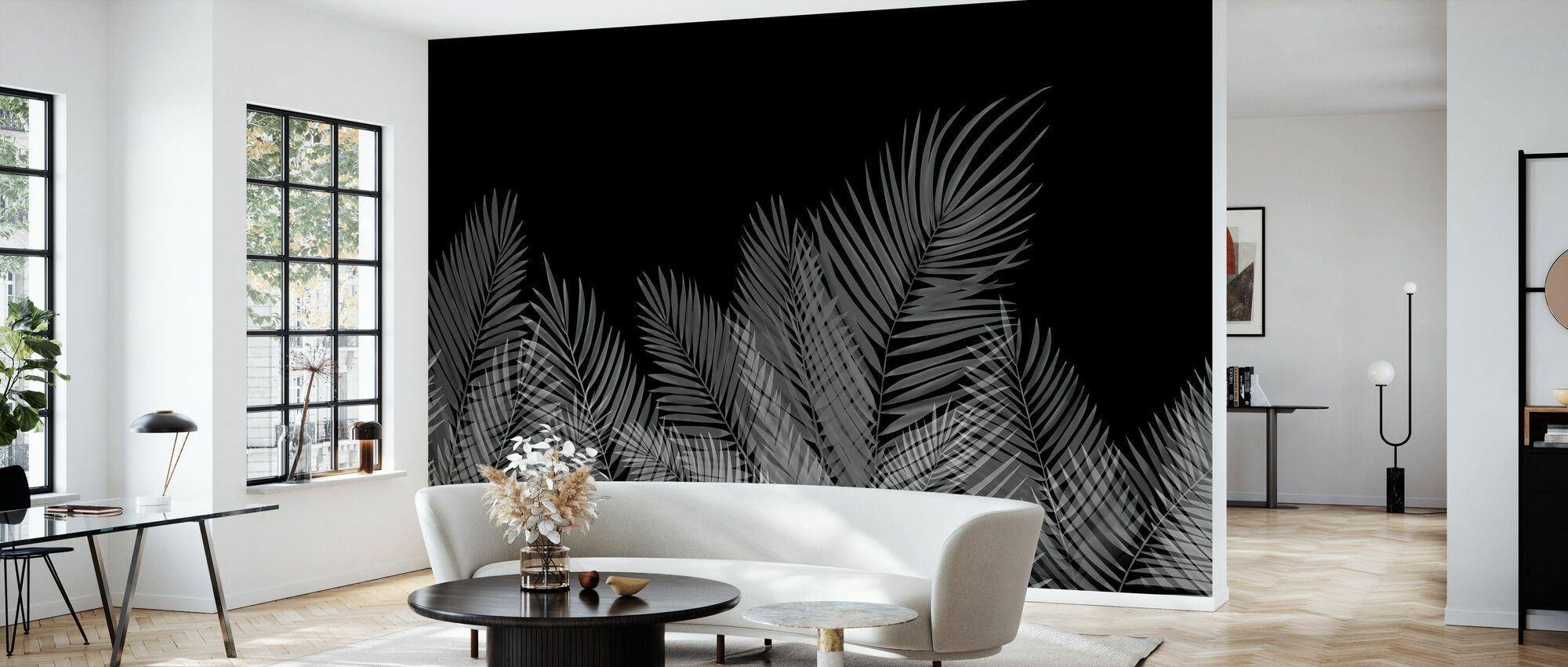 Svaiende Palm blader - svart-hvitt - Tapet - Stue