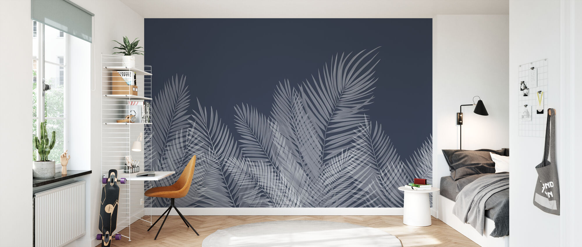 Svaiende palmeblader - blå - Tapet - Barnerom