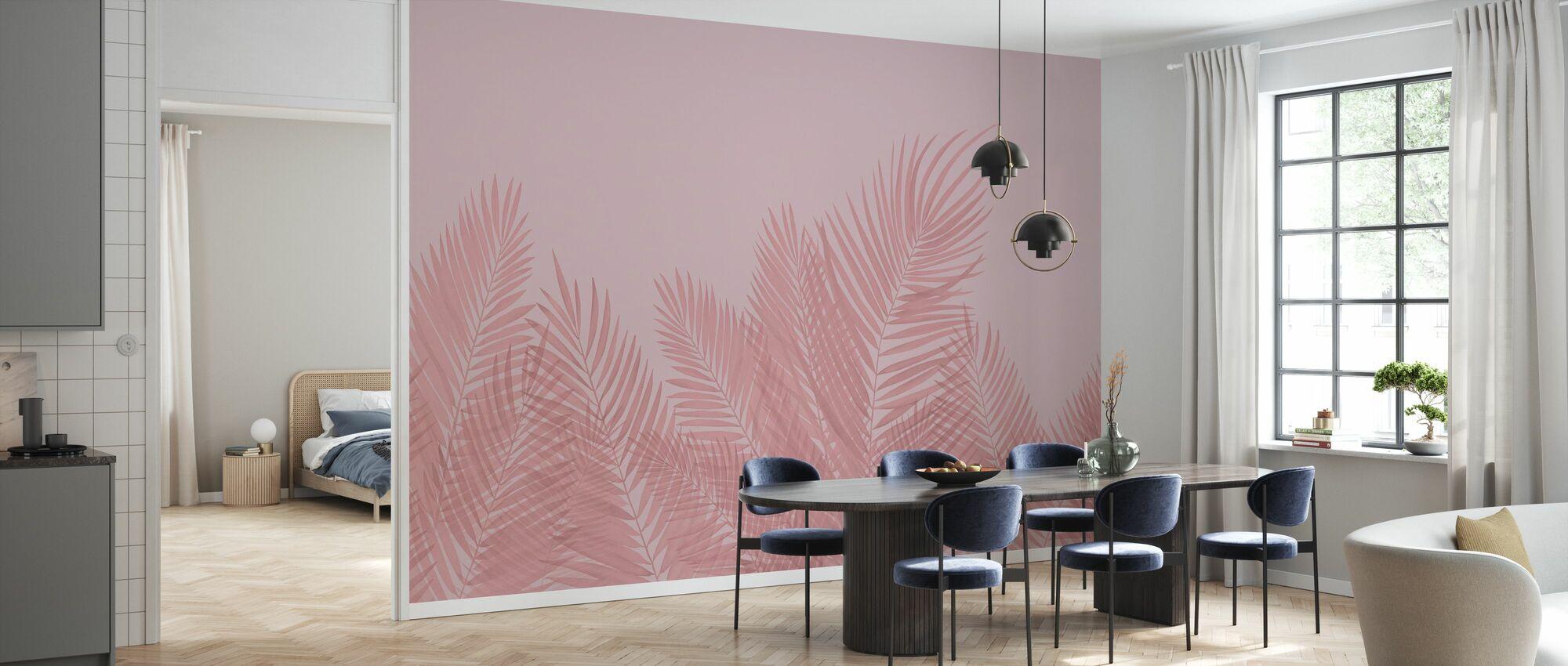 Svaiende Palm blader - rosa - Tapet - Kjøkken