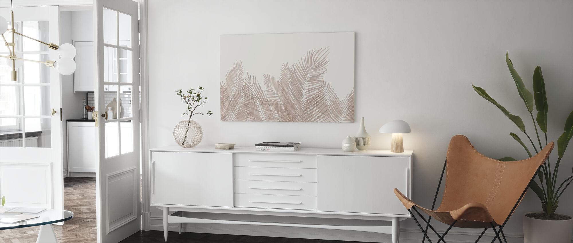Schwankende Palmblätter - Sepia - Leinwandbild - Wohnzimmer