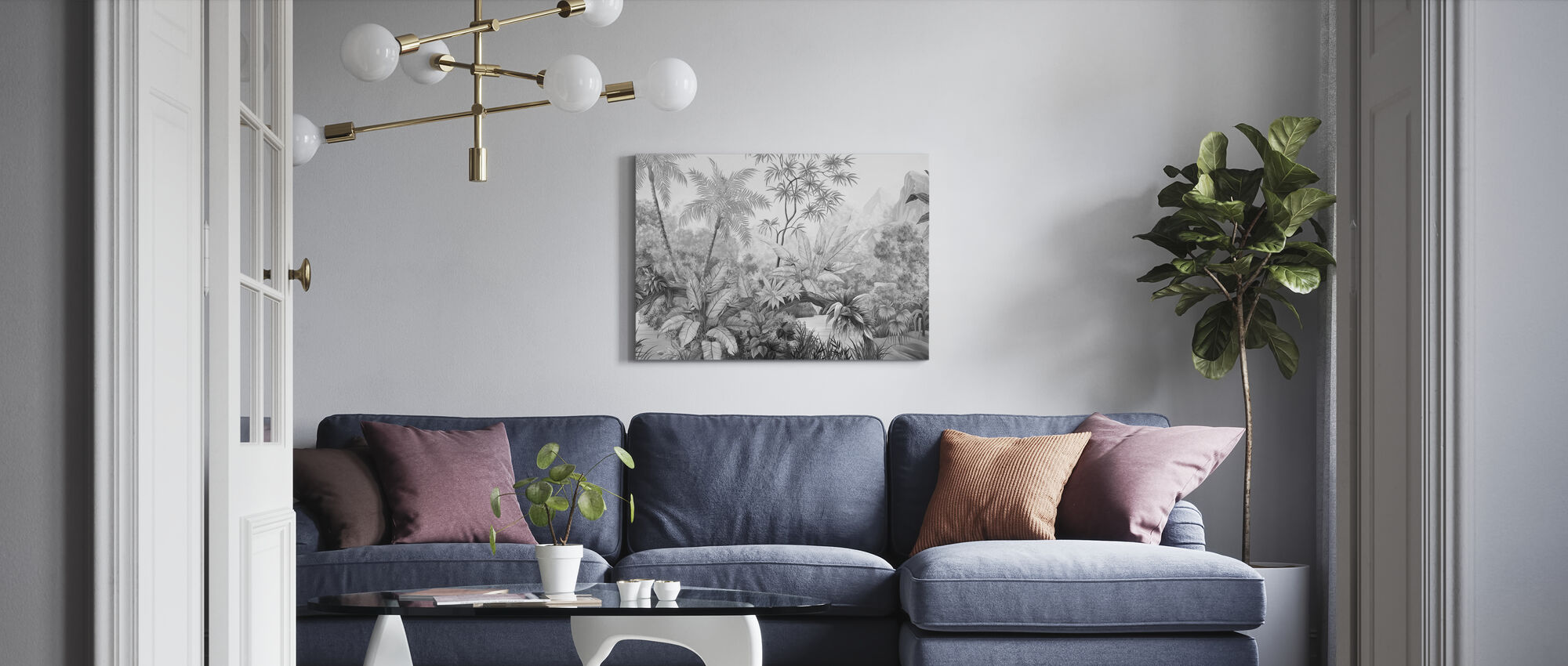Tangled Jungle - Bw - Canvas print - Living Room