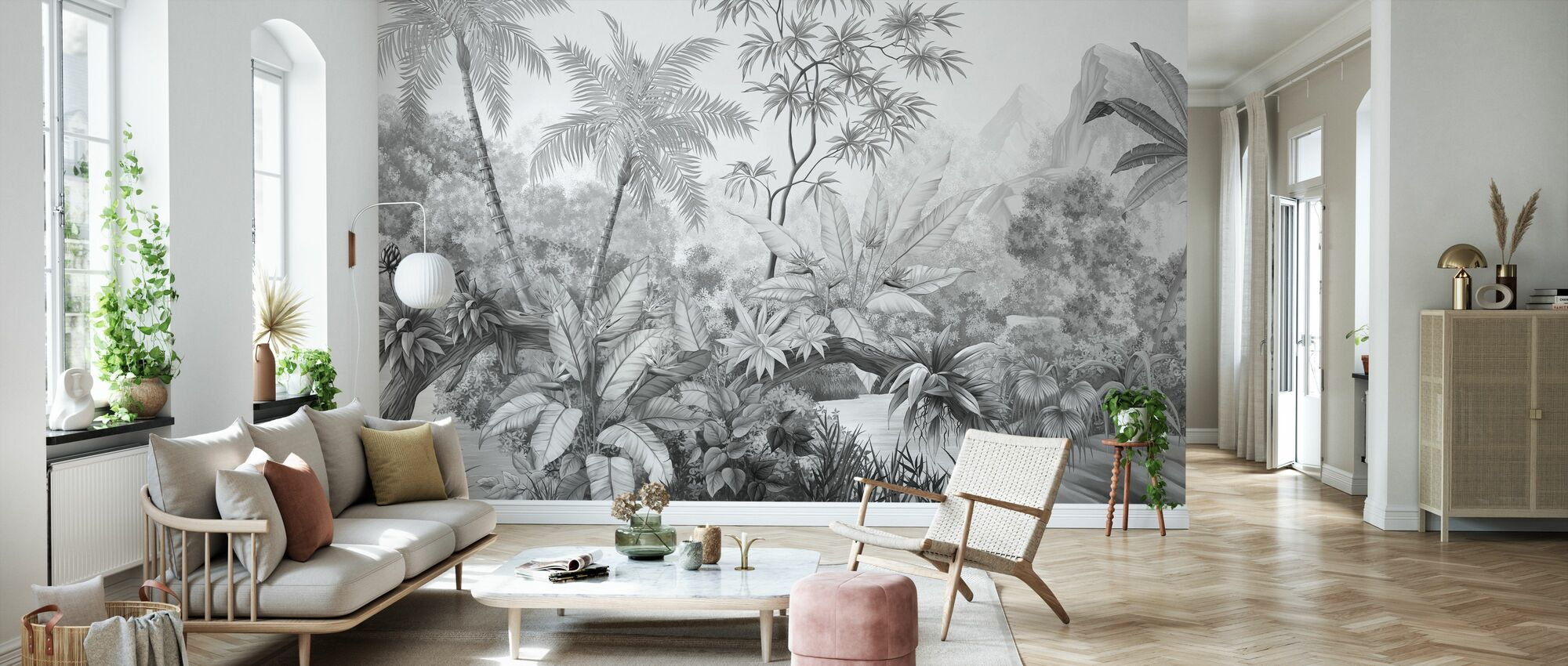 Tangled Jungle - Bw - Wallpaper - Living Room