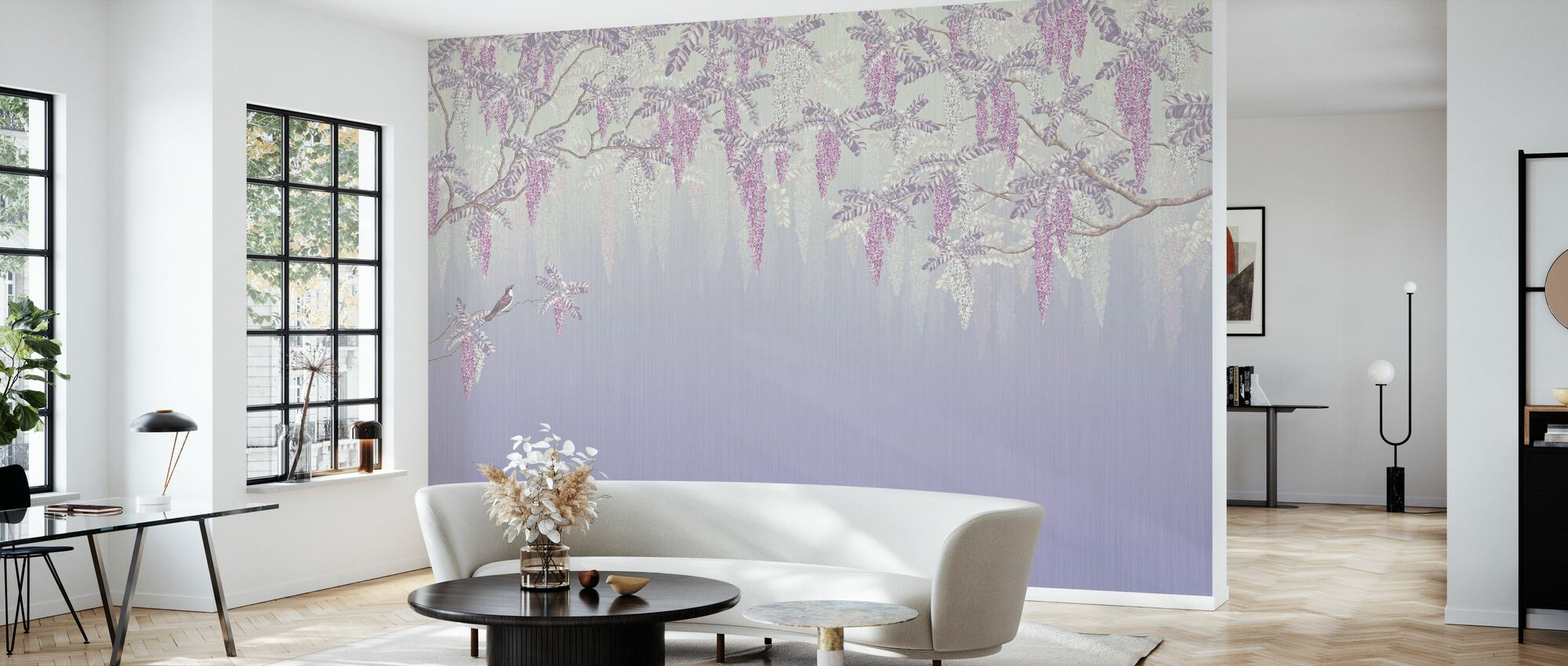 Wisteria - Violet - Wallpaper - Living Room