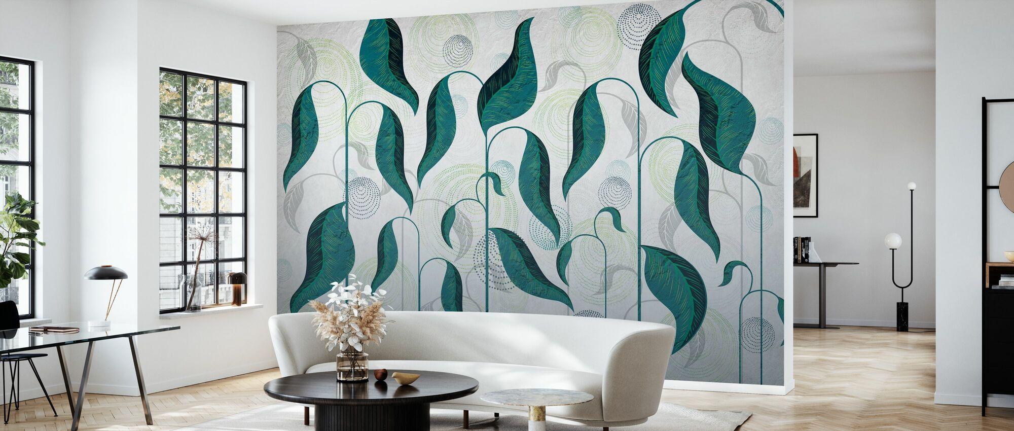 Leaf Dance - Green - Wallpaper - Living Room
