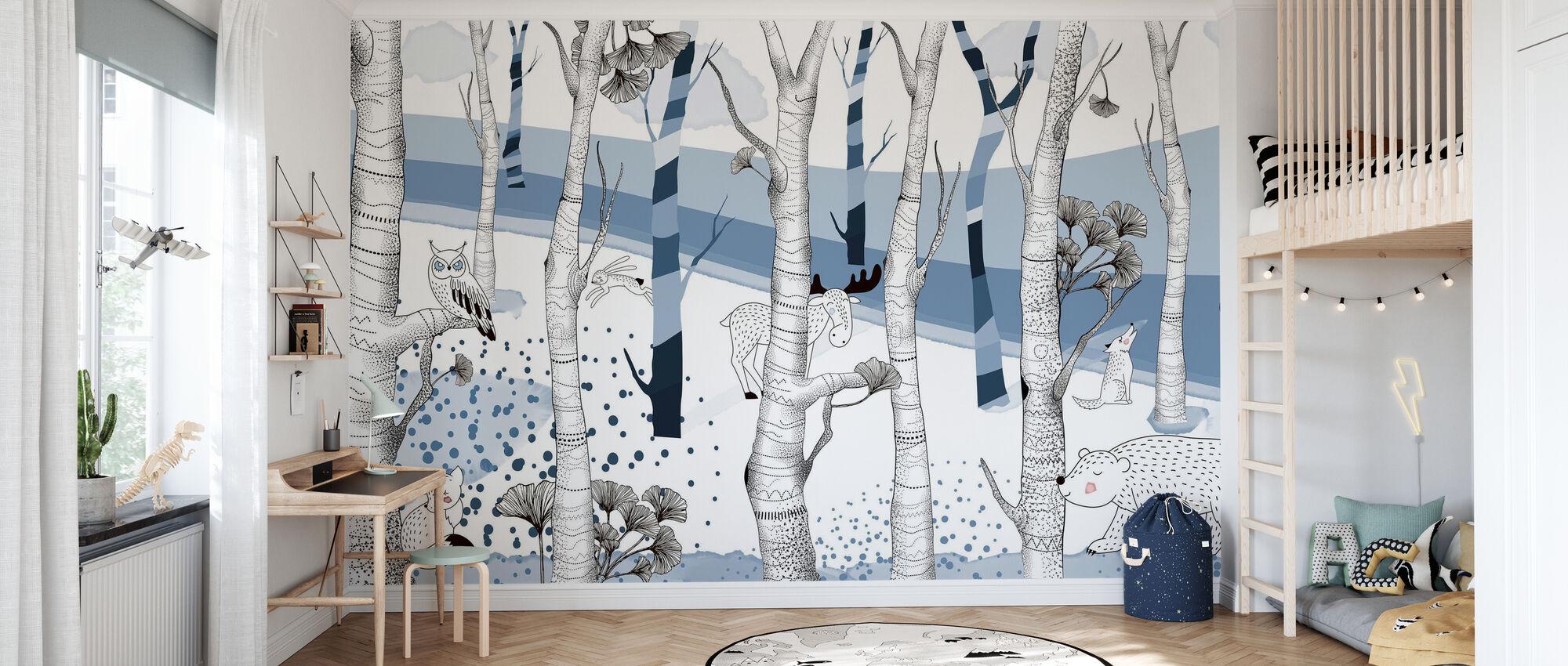 Woodland - Blue - Wallpaper - Kids Room