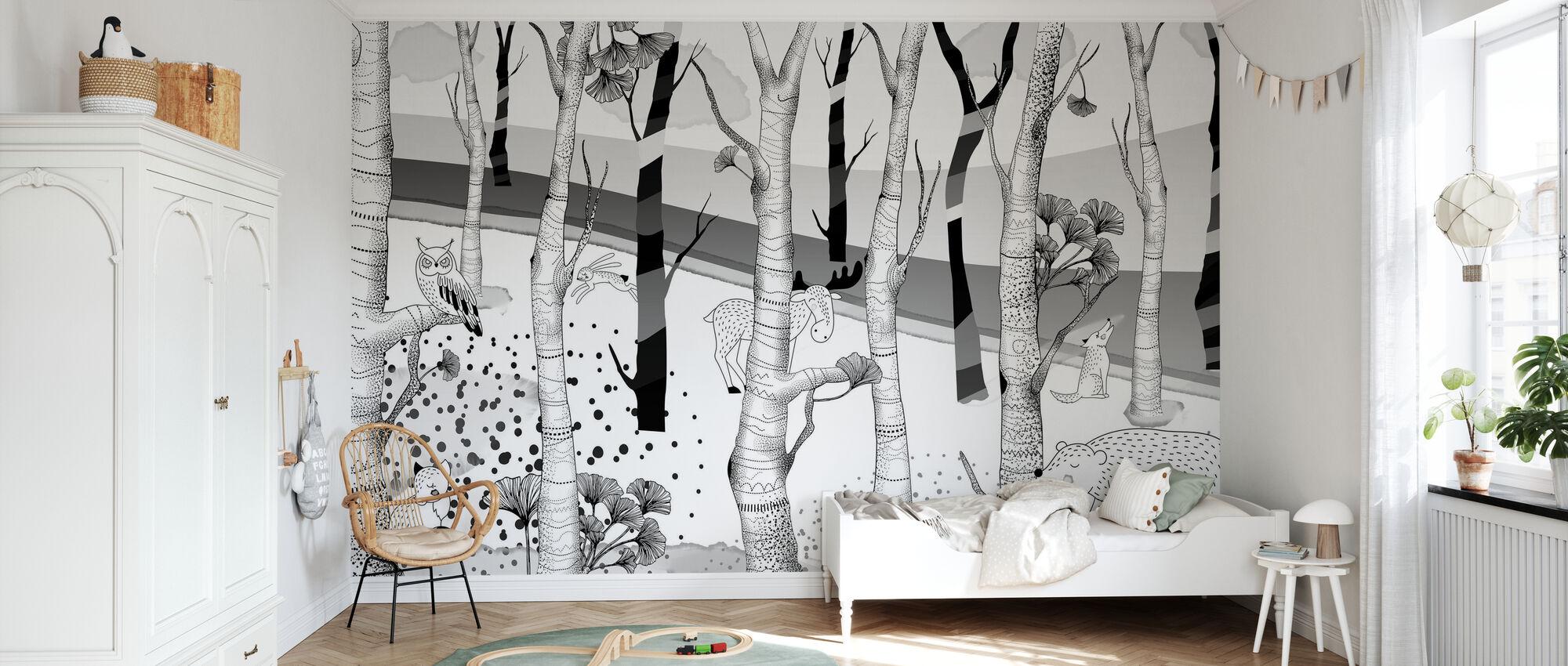 Woodland - Bw - Wallpaper - Kids Room