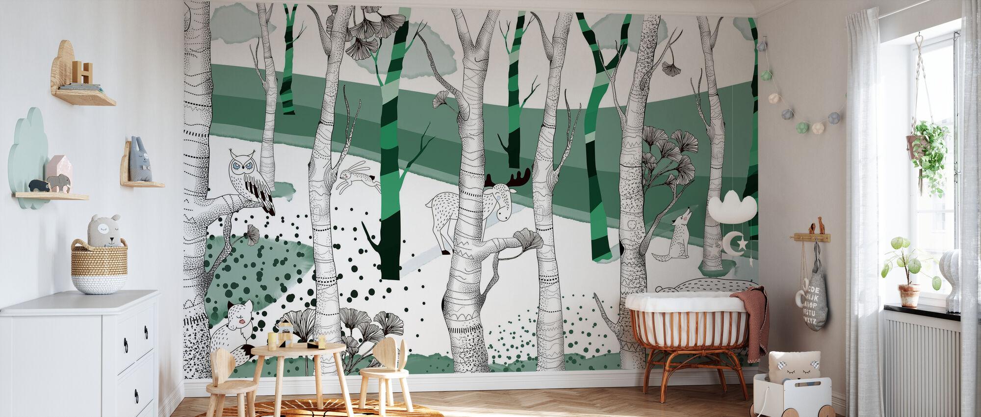 Woodland - Grün - Tapete - Babyzimmer