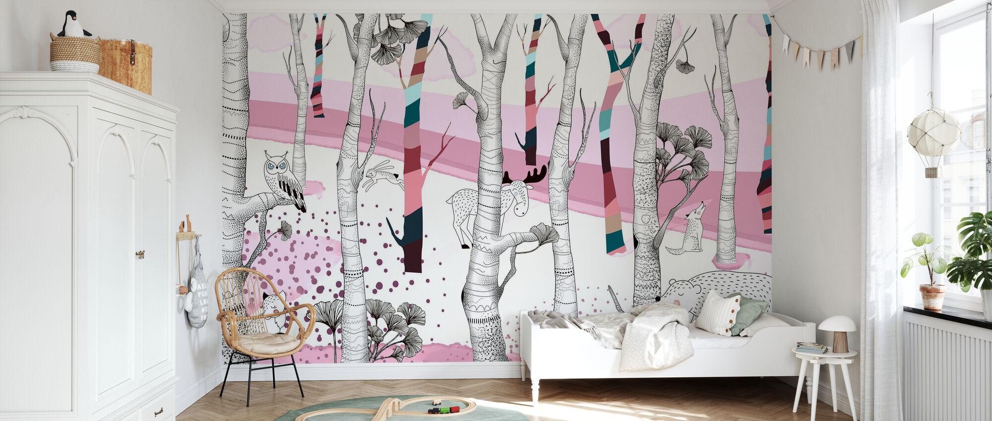 Woodland - Rosa - Papel pintado - Cuarto de niños