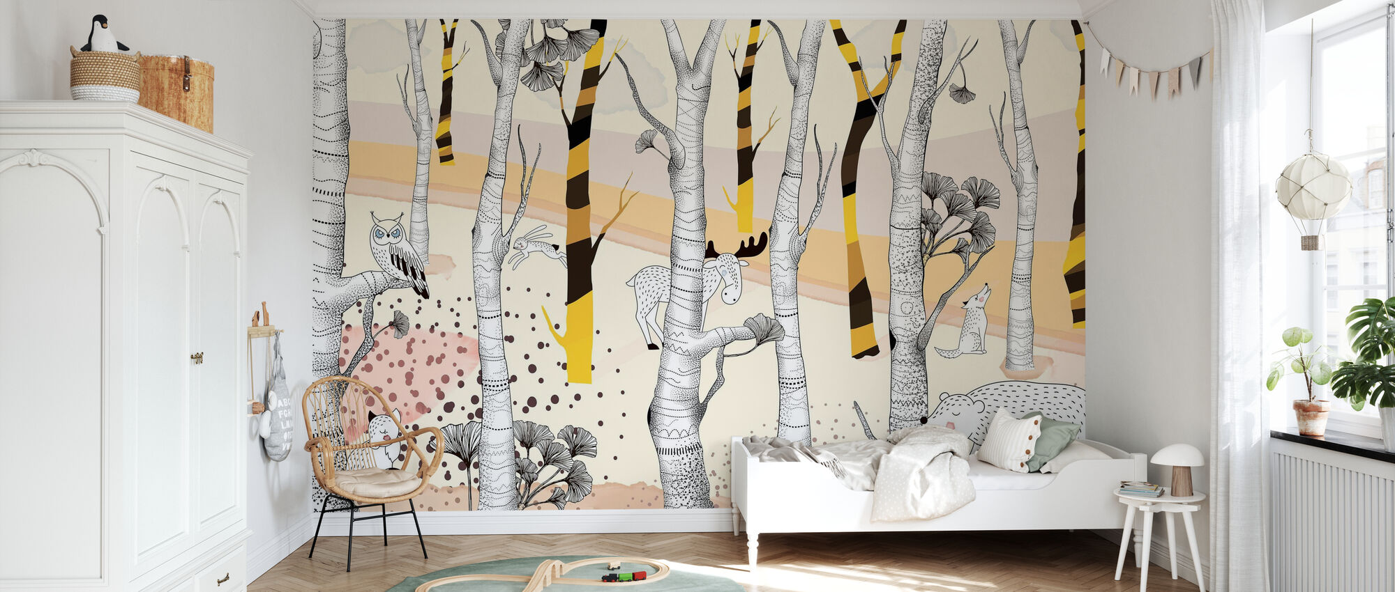 Woodland - Yellow - Wallpaper - Kids Room