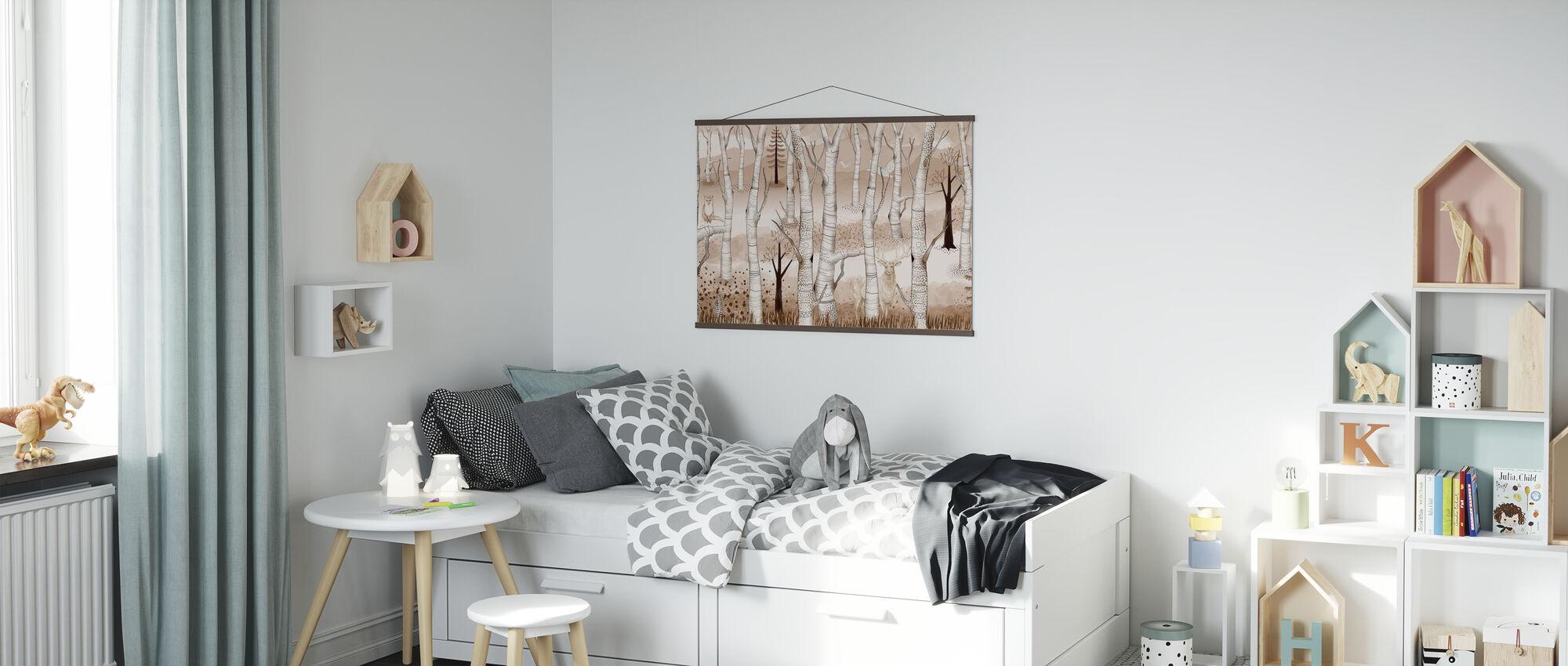 Woodland Walz - Pale Brown - Poster - Kids Room