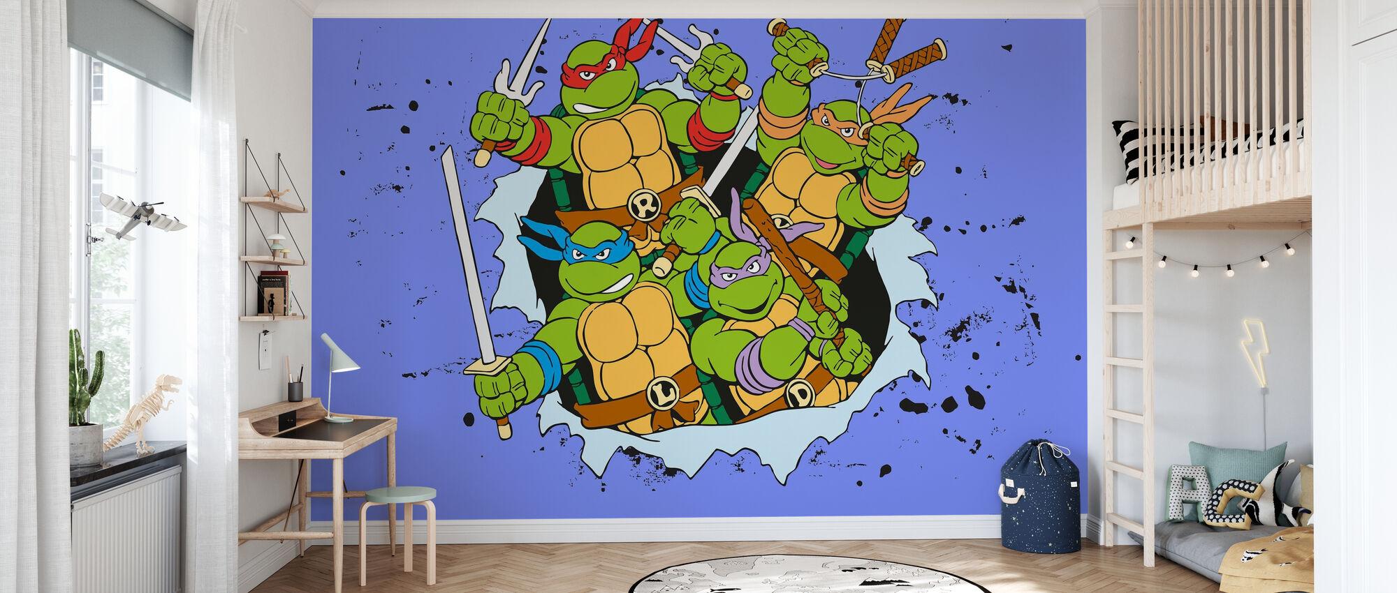 Original Ninjas Blau - Tapete - Kinderzimmer
