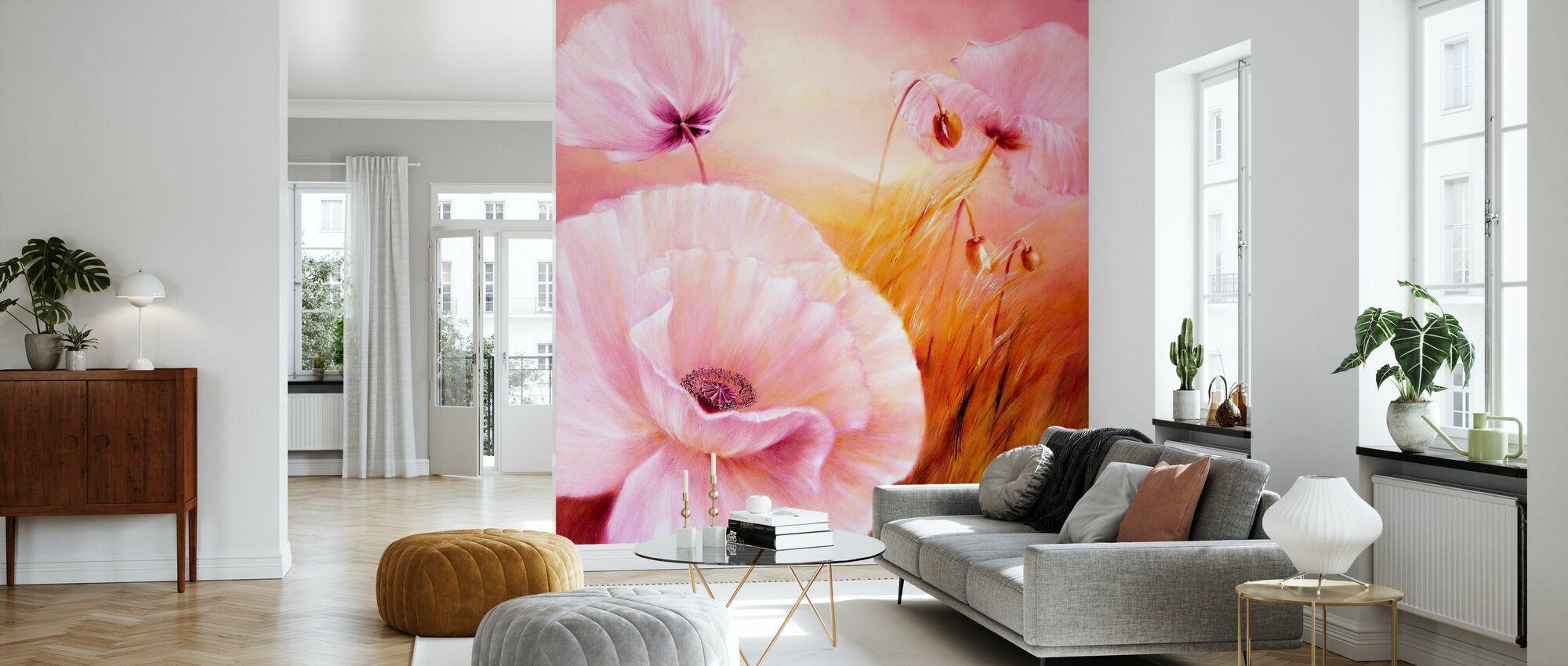 White Poppy III - Wallpaper - Living Room