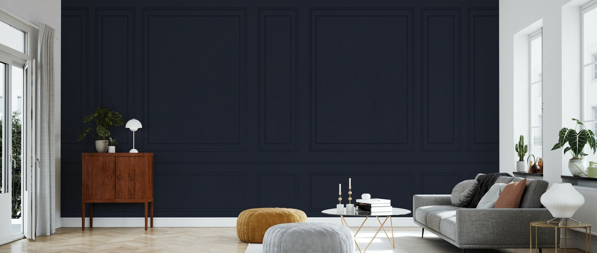Voguish Wall Panel - Blue - Wallpaper - Living Room