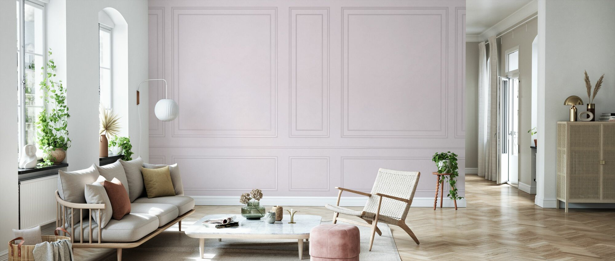 Voguish Wall Panel - Pink - Wallpaper - Living Room