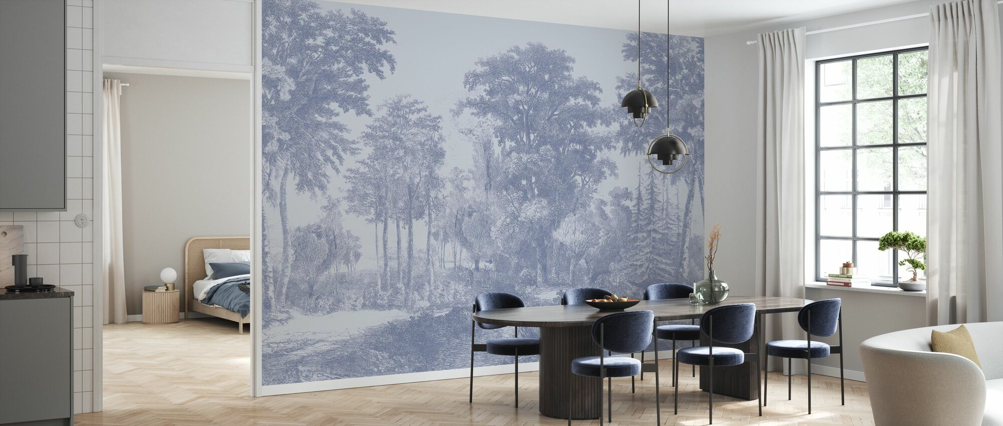 Slow Meander - Blue - Wallpaper - Kitchen