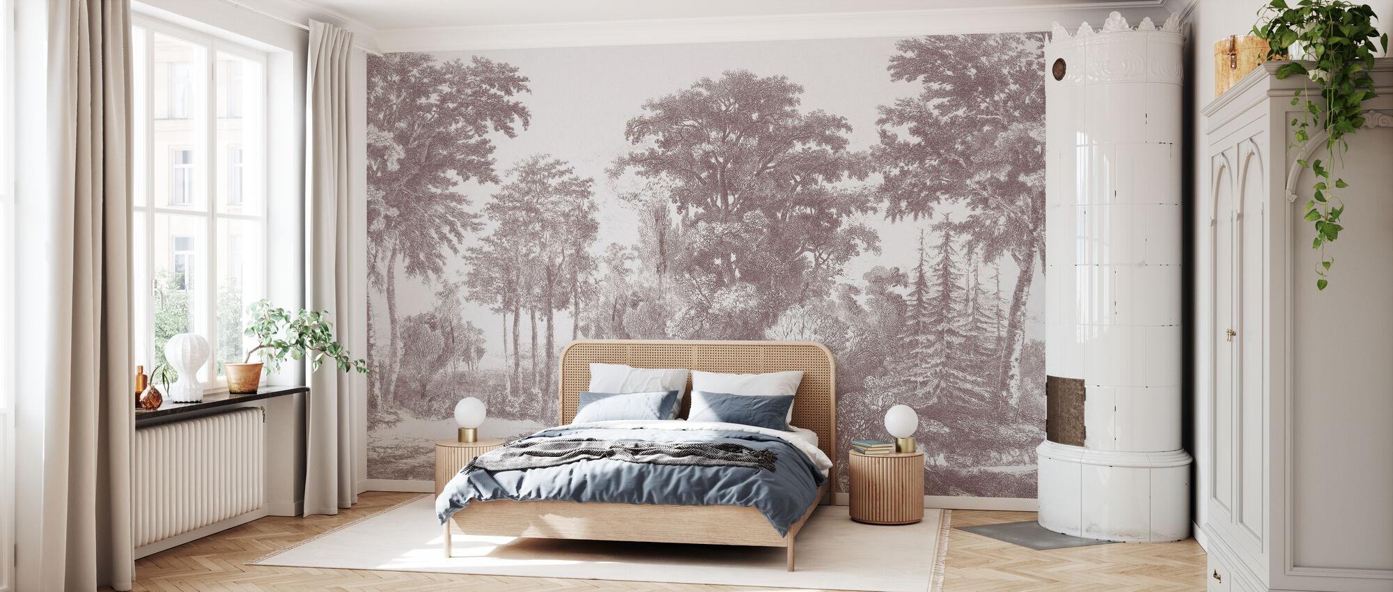 Slow Meander - Bordeaux - Wallpaper - Bedroom
