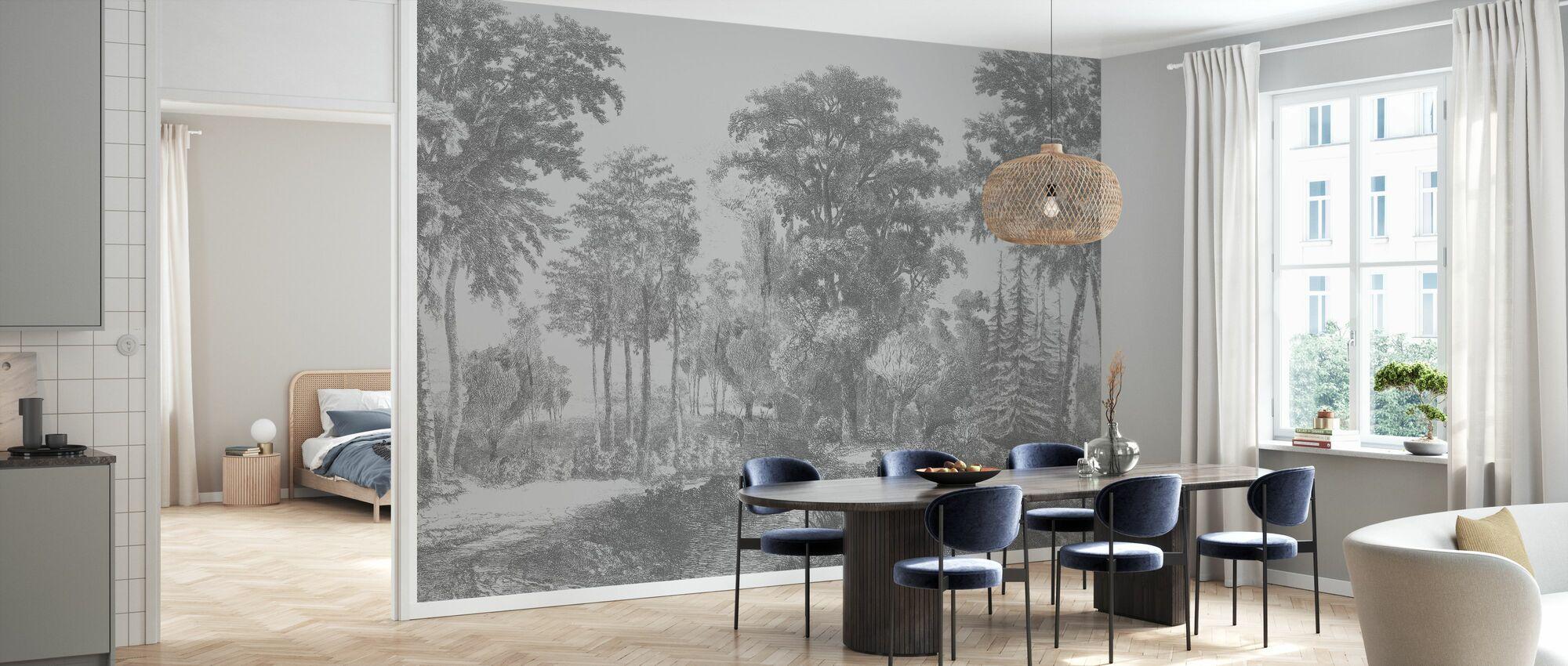 Slow Meander - Grey - Wallpaper - Kitchen