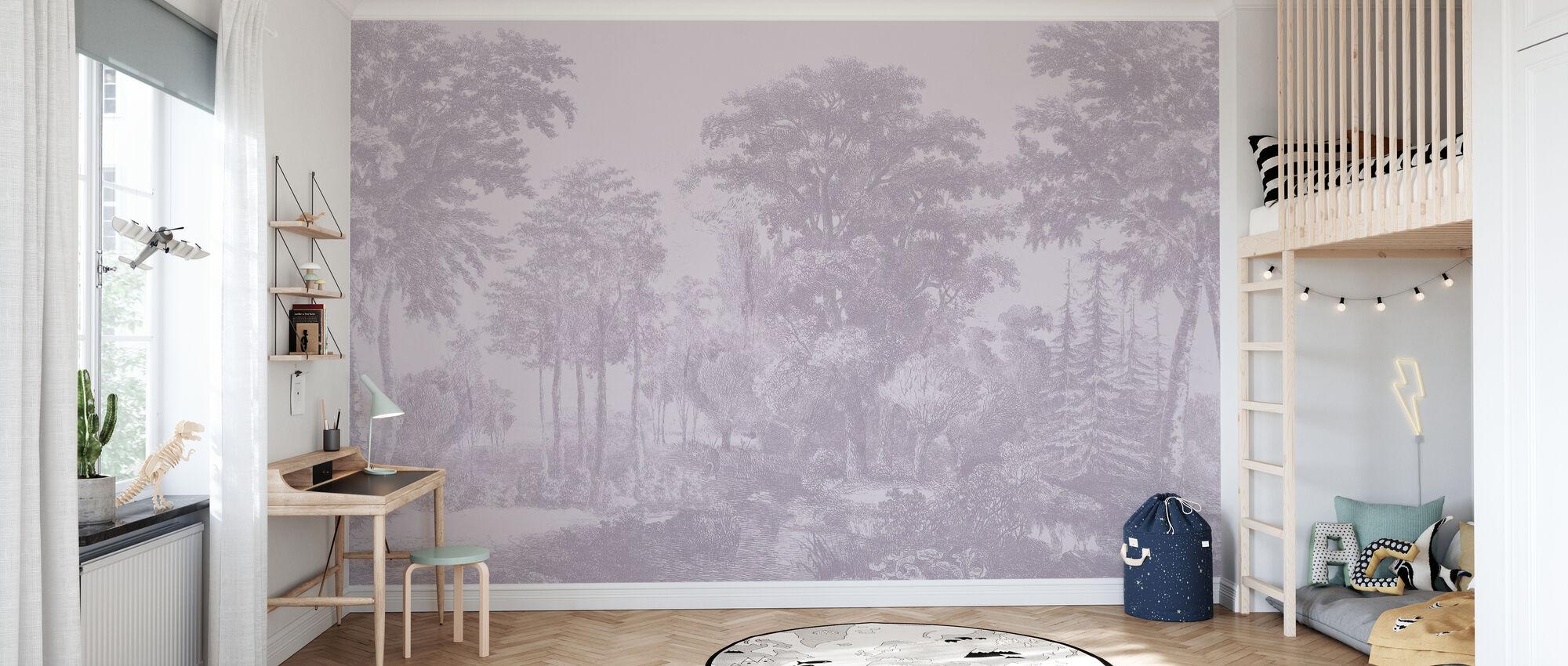 Slow Meander - Lavender - Wallpaper - Kids Room