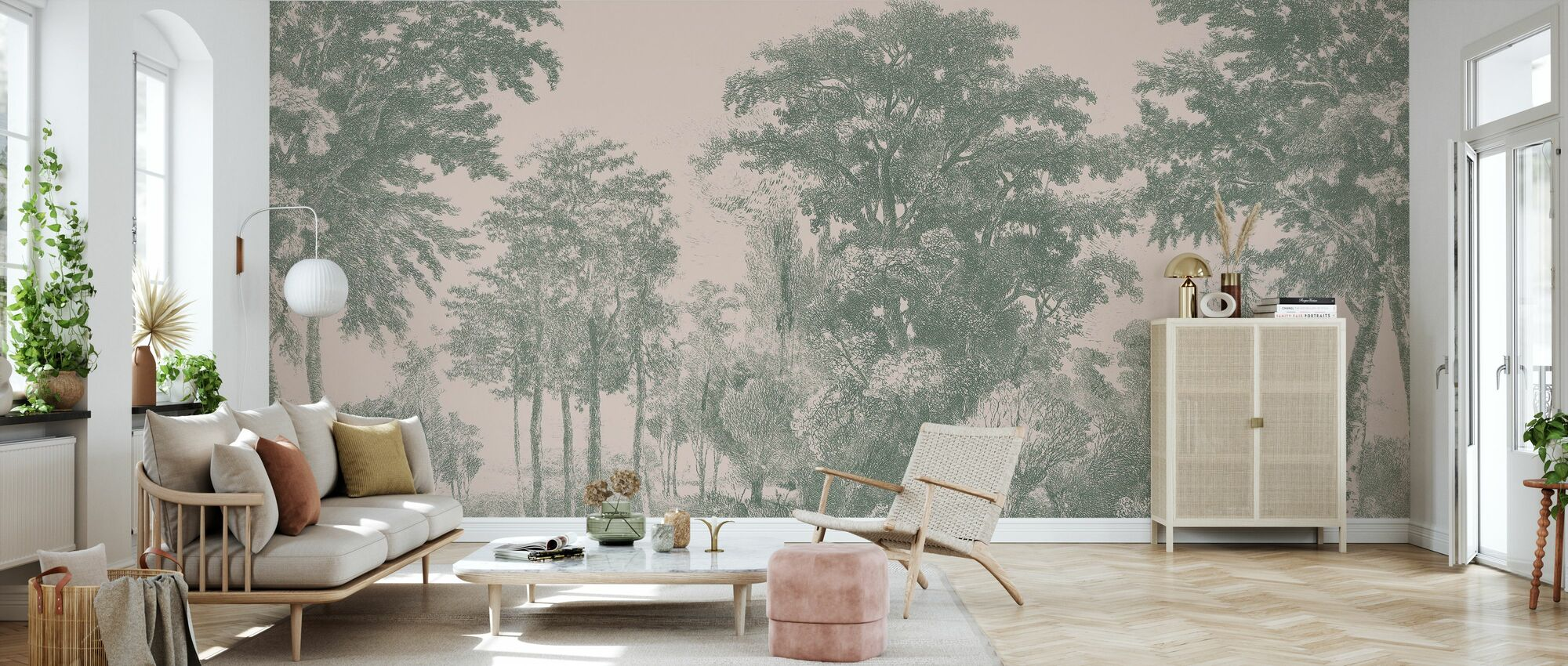 Slow Meander - Pink and Green - Wallpaper - Living Room