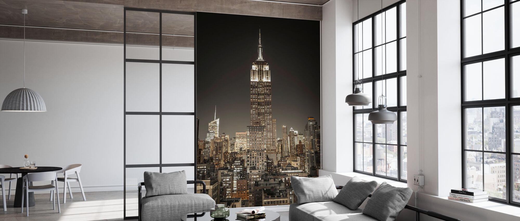 Beleuchtet New York - Dunkel - Tapete - Büro