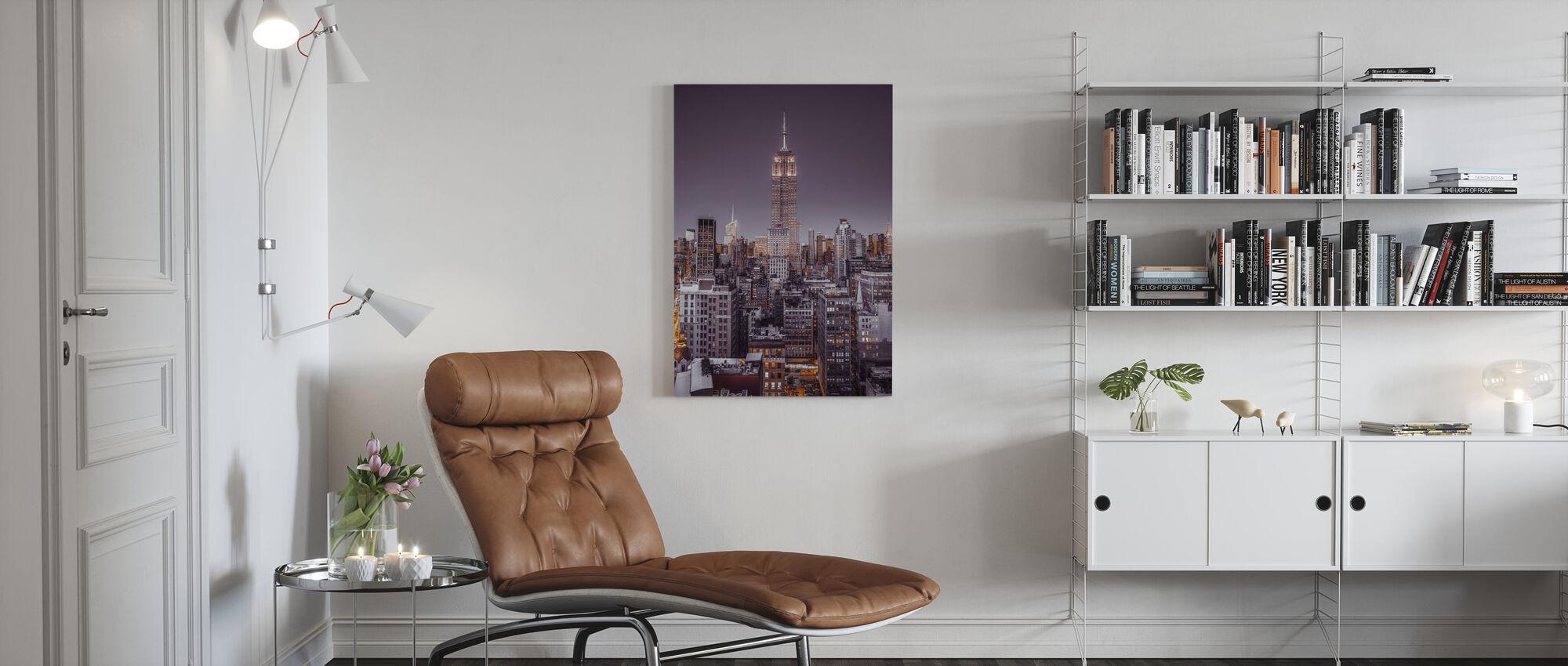 Illuminated New York - Violet - Canvas print - Living Room