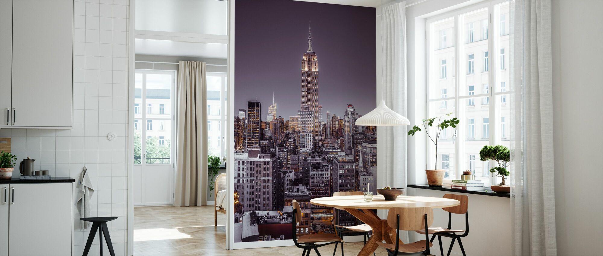 Beleuchtet New York - Violett - Tapete - Küchen