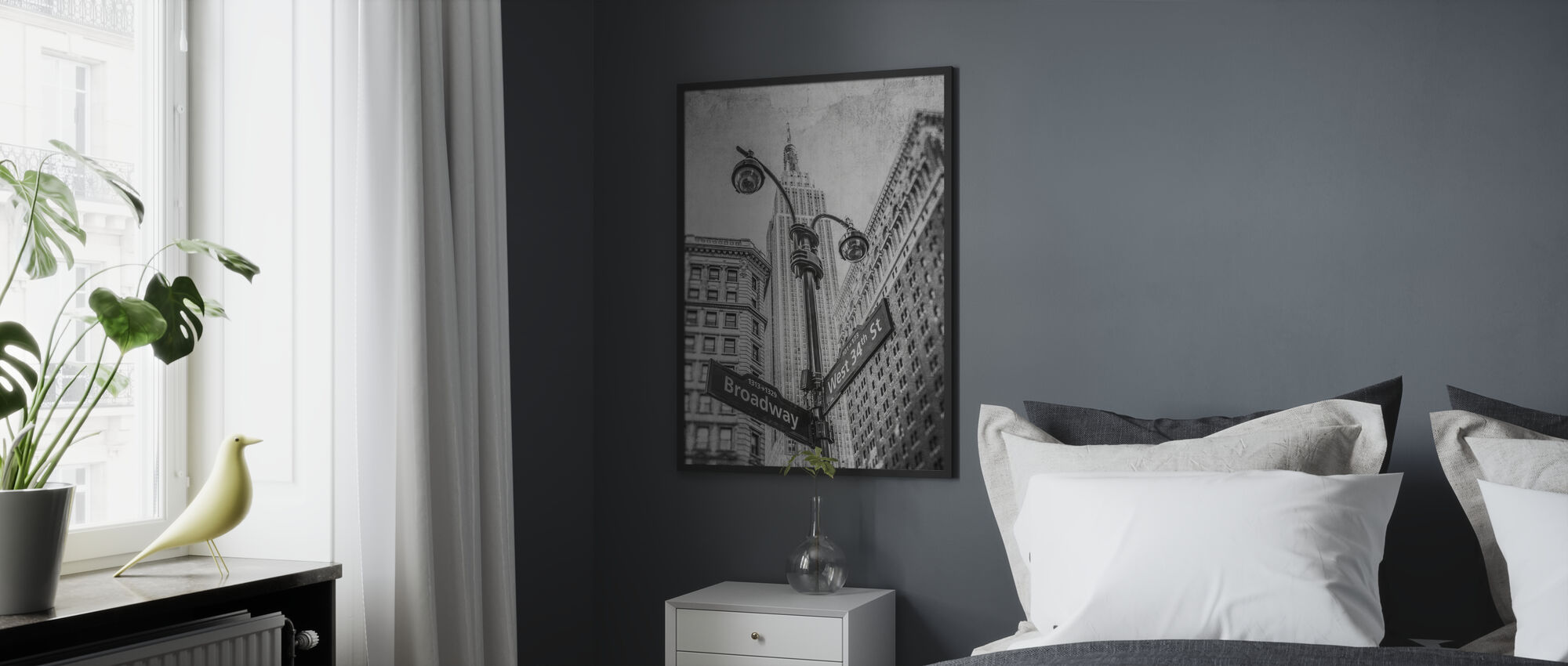 New York Signs - BW - Framed print - Bedroom