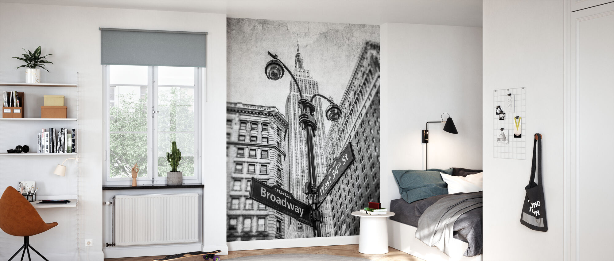 New York Signs - BW - Wallpaper - Kids Room