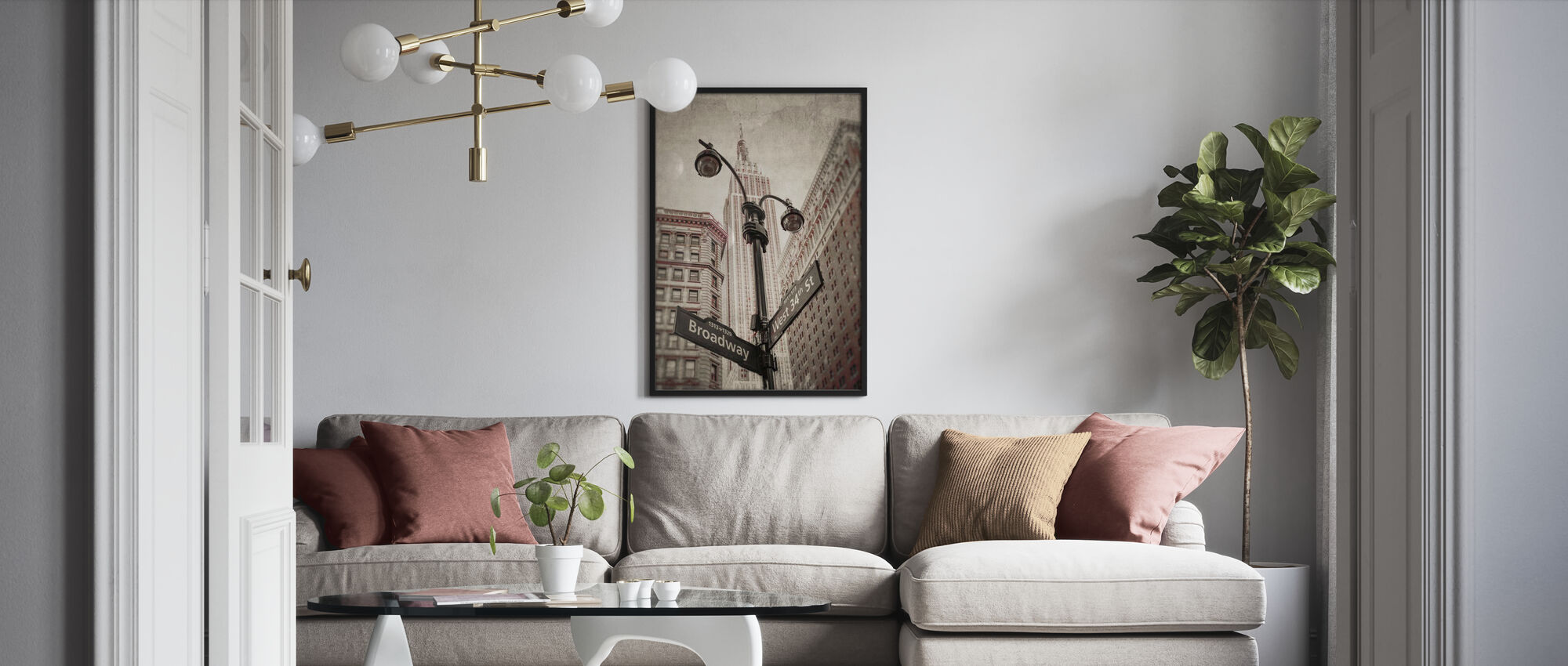 New York Signs - Sepia - Poster - Living Room
