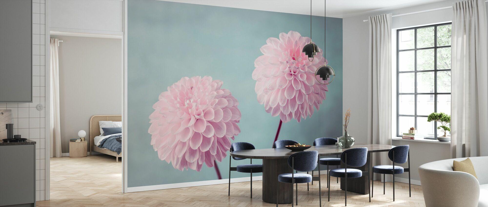 Pink Dahlias - Wallpaper - Kitchen