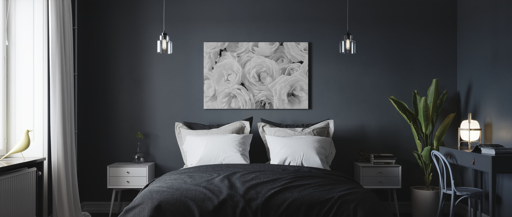 White Roses - Canvas print - Bedroom