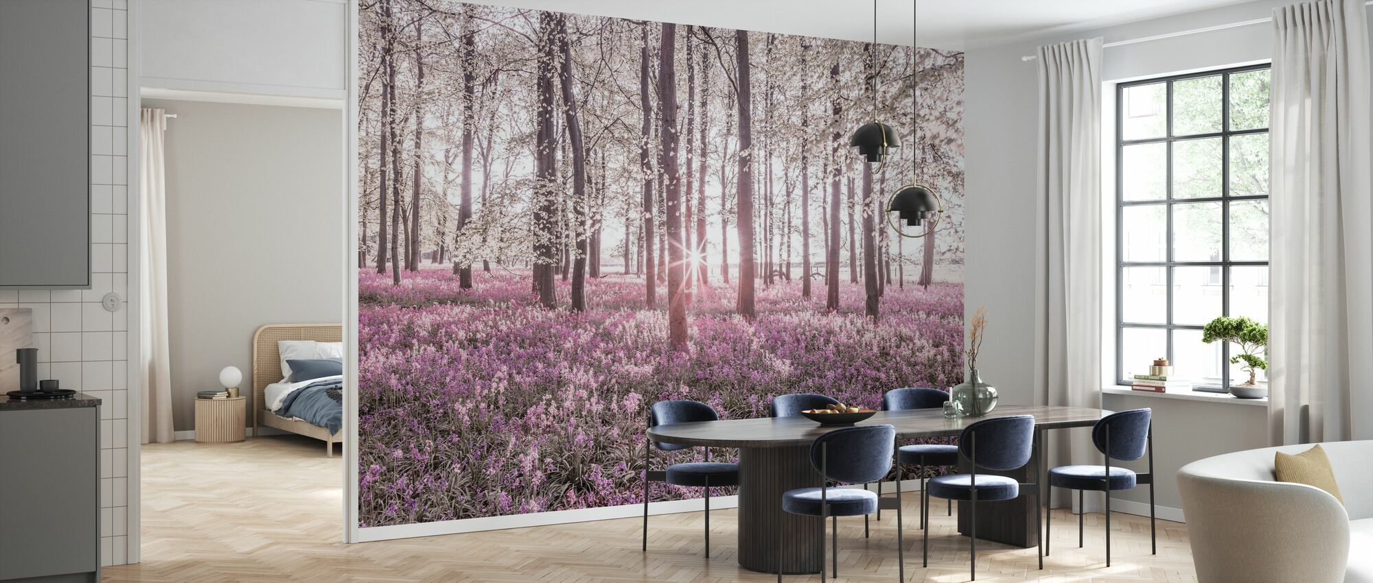 Bluebells - Violet - Wallpaper - Kitchen