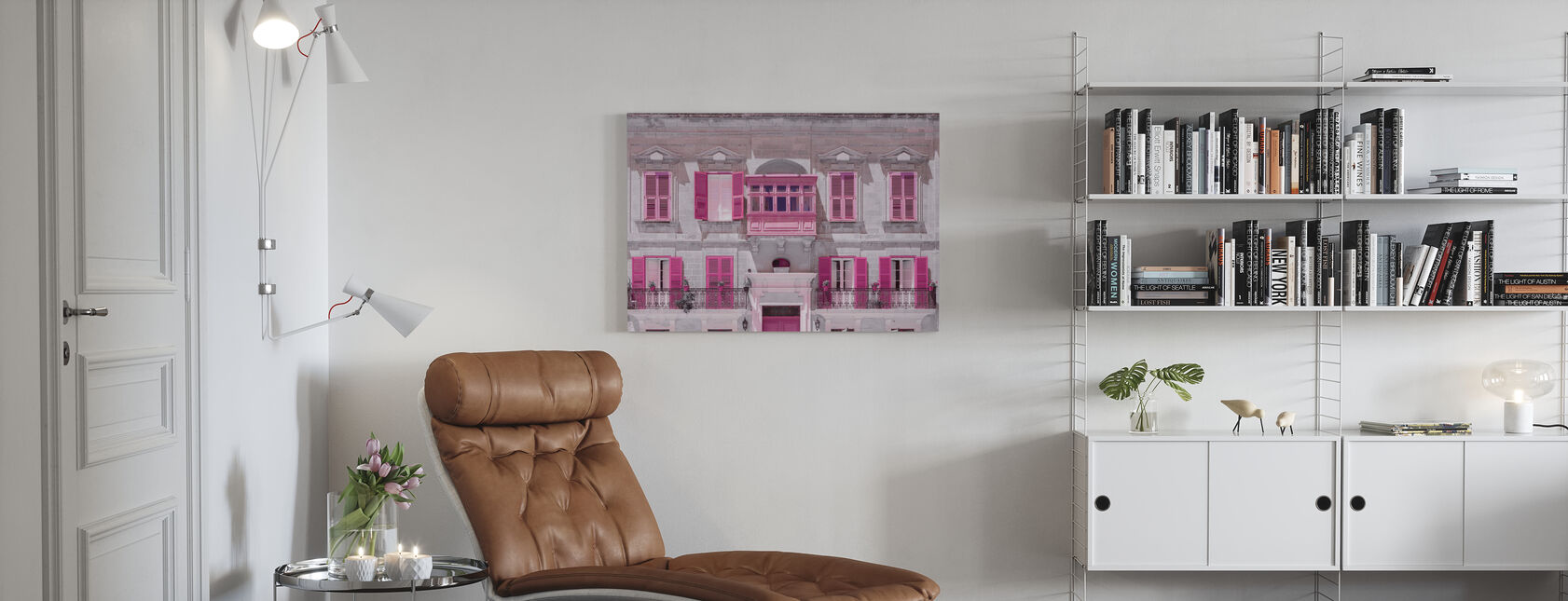 Malta Facade - Pink - Canvas print - Living Room