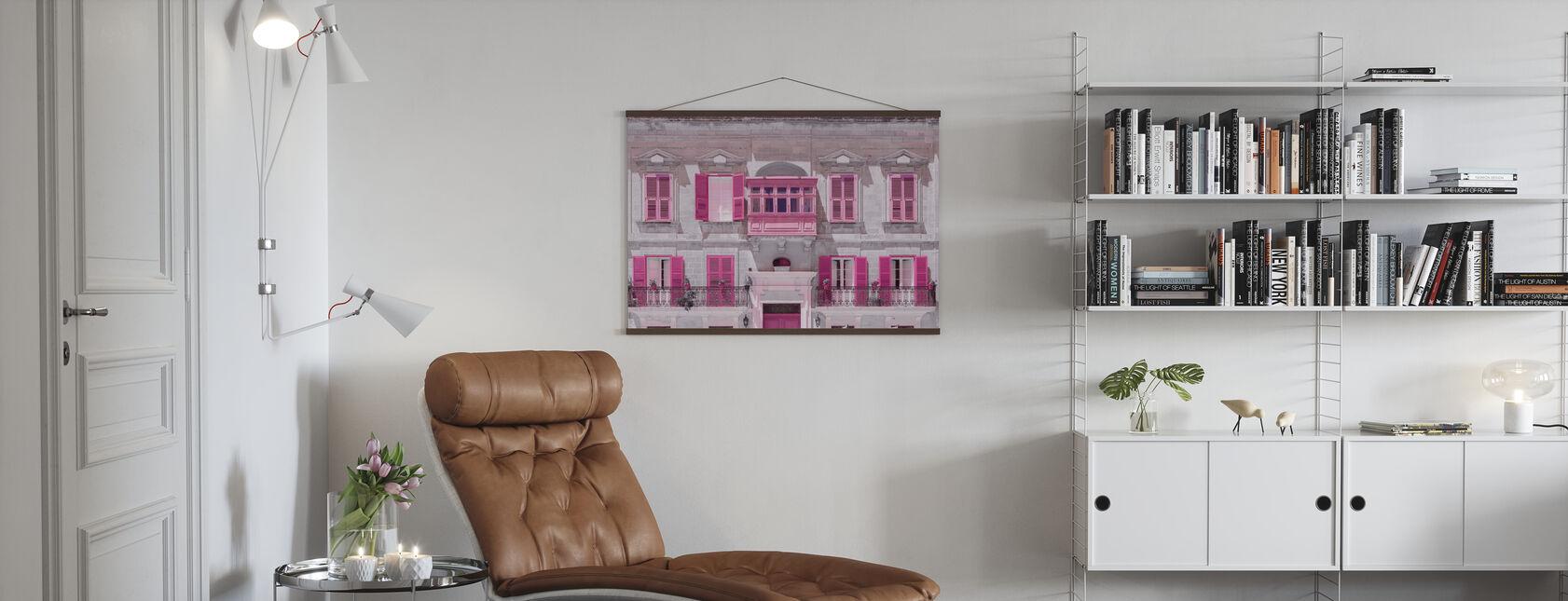 Malta Facade - Pink - Poster - Living Room