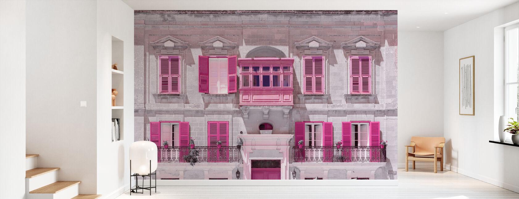 Malta Facade - Pink - Wallpaper - Hallway