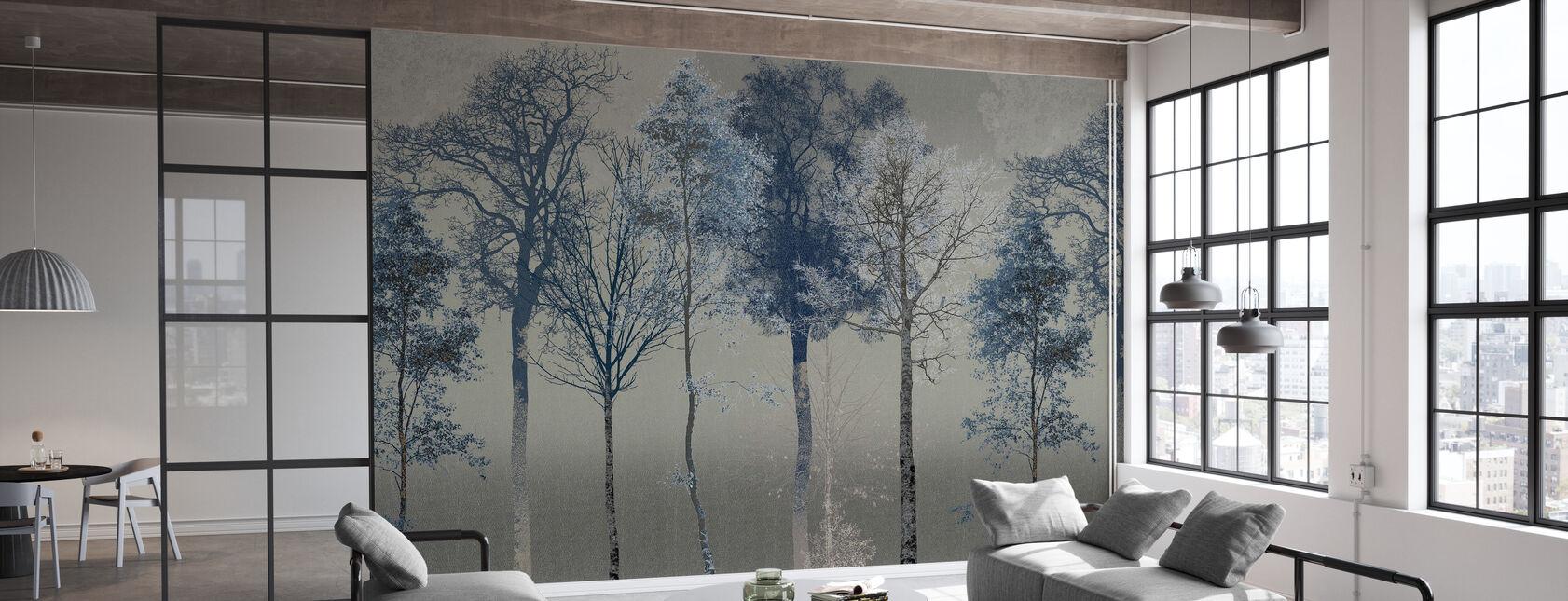 Hidden Bird - Blue Grey - Wallpaper - Office