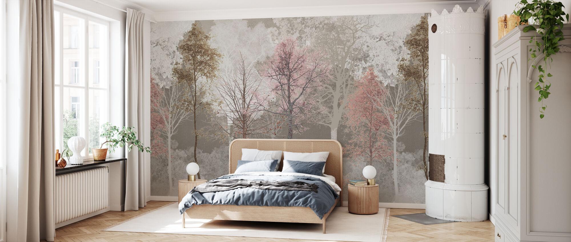 Hidden Bird - Pink Beige - Wallpaper - Bedroom